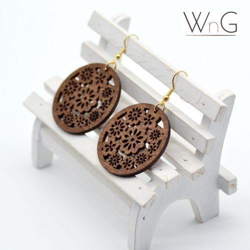 WnG African Rings Fa Fülbevaló kerek/virág - woodengoods.hu