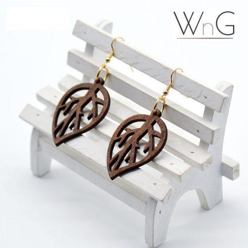 WnG African Rings Fa Fülbevaló - leaf - woodengoods.hu