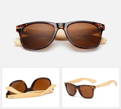 WnG Milano fából, kézzel készült napszemüveg - mintás / tea kivitel