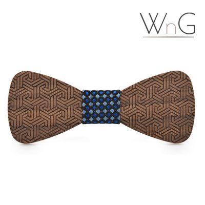 WnG Labyrinth Fa Csokornyakkendő - kék mintás középrésszel