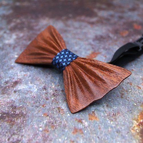 Mahoosive HandCurved Luxury Fa Csokornyakkendő Szett - sötétkék