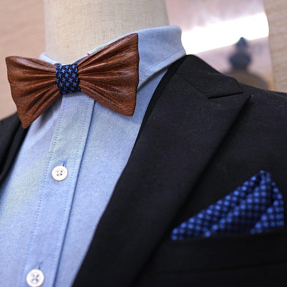 372190d9a2 Mahoosive HandCurved Luxury Fa Csokornyakkendő Szett - kék mintás