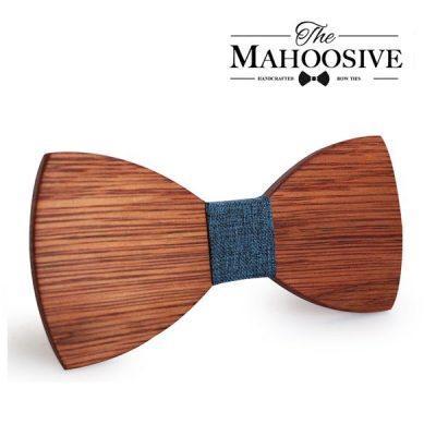 Mahoosive Rounded Fa Csokornyakkendő - sötétbarna/kék