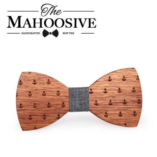 Mahoosive Rounded Sailor Fa Csokornyakkendő – barna/szürke