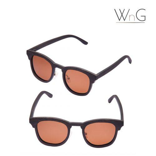 WnG FullWood Retro Fa Napszemüveg Bambusz Tokkal – fekete/barna