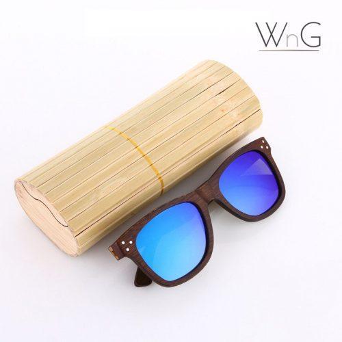 WnG FullWood Charm Fa Napszemüveg Fa Tokkal - sötétbarna/kék