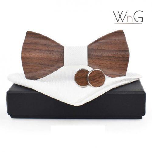 WnG Wave Rounded Fa Csokornyakkendő Full Szett – fehér