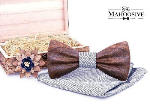 Mahoosive Carved Fa Csokornyakkendő Full Szett – szürke