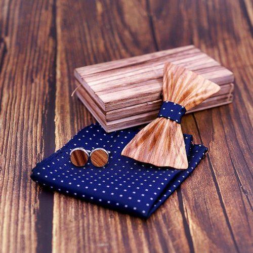 Mahoosive HandCarved Luxury Fa Csokornyakkendő Full Szett – zebrafa/sötétkék